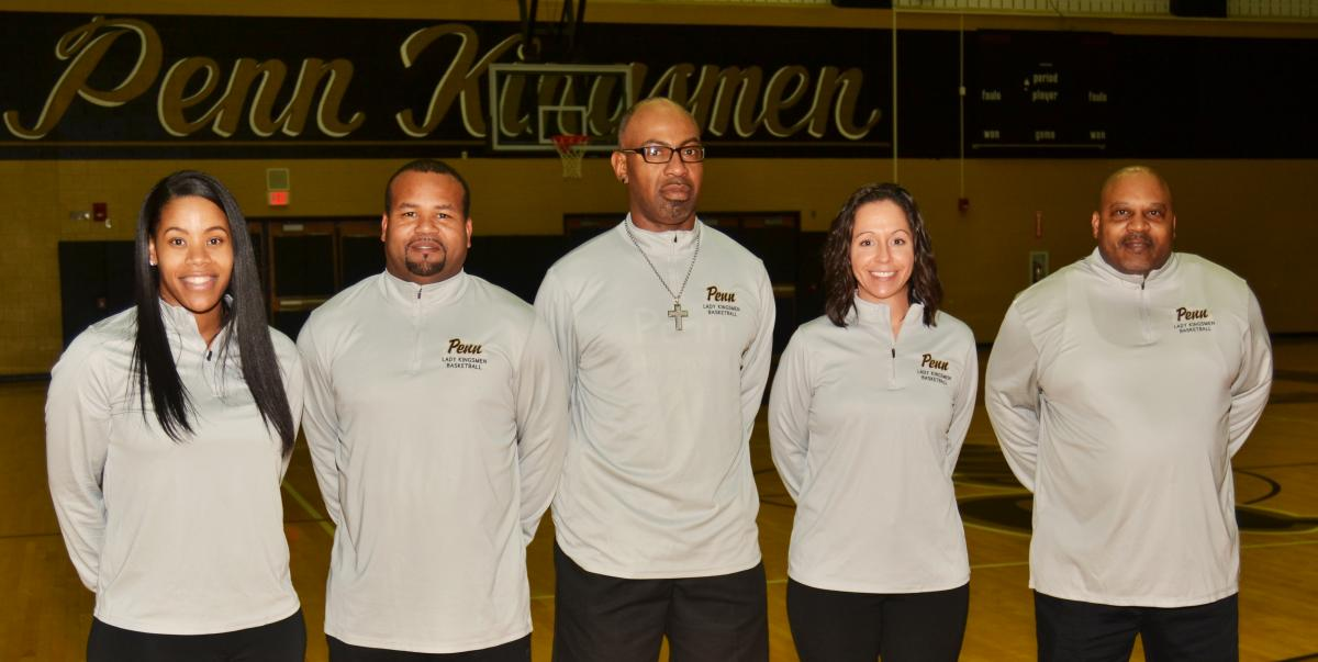 Penn Girls basketball coaching staff.