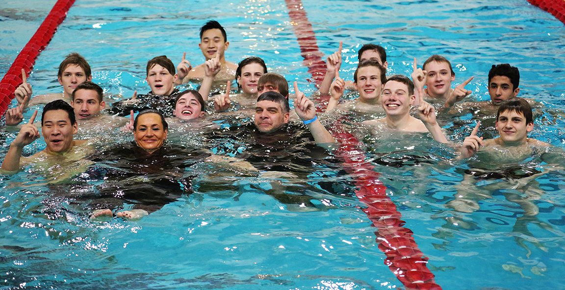 The Penn Boys Swimming Team celebrates the 2019 Sectional Championship.