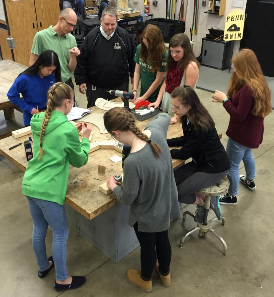 Penn's all-girls Intro to Engineering Design (IED) class working on a project