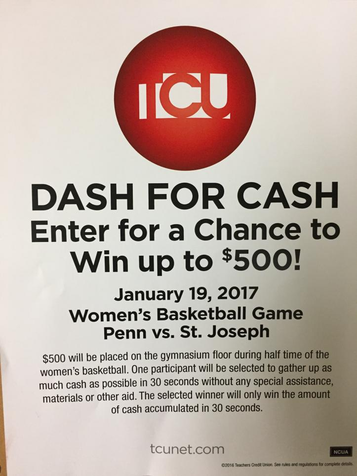 Poster explaining the TCU Dash for Cash event.