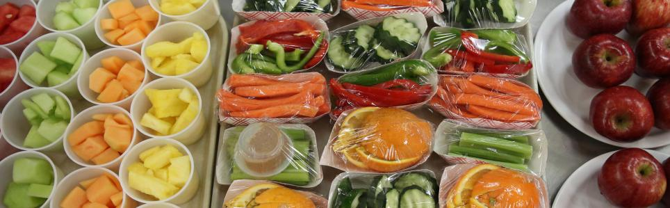 Array of vegetables and fruit.