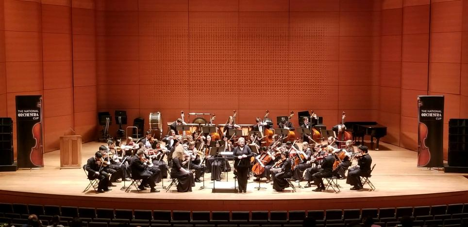 The Penn High School Symphonic Orchestra Strings performing at New York's Lincoln Center.