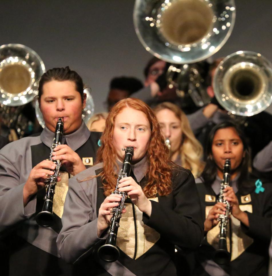 The Penn Marching Kingsmen perform at the Kaleidoscope Concert.