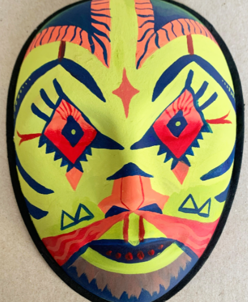 Painted African Inspired Mask