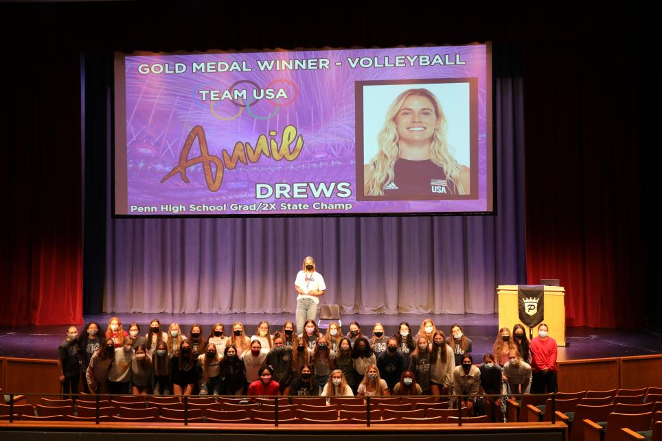 Annie Drews with Penn female student-athletes