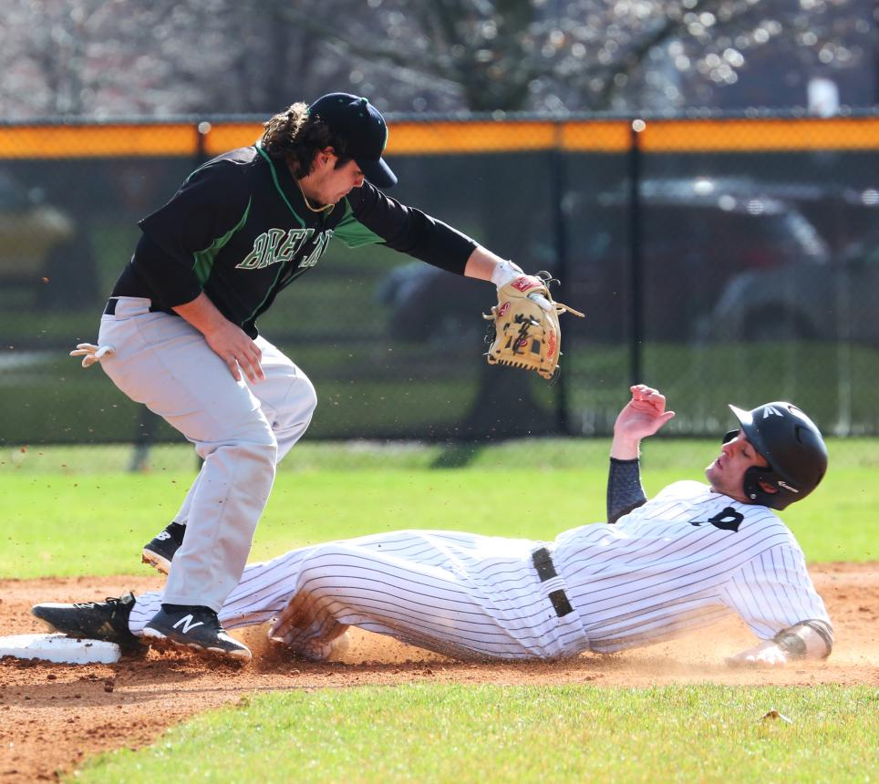 Penn's Kegan Hoskins steals second.