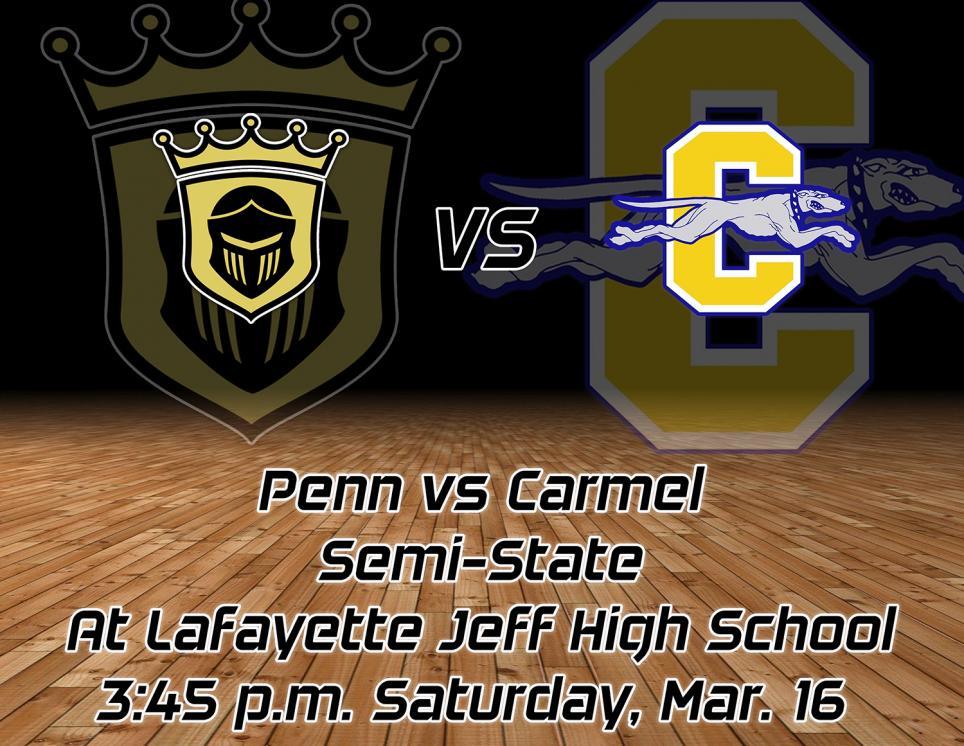 The Penn Boys Basketball Team vs. Carmel graphic design.