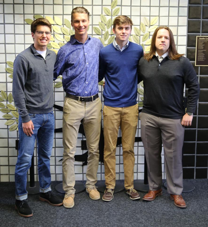 Penn students, from left, Luke Carlton, Nick Padrnos, Michael Feeley and Conner Buell have been selected to participate in the entrepreneurial Startup Moxie program.