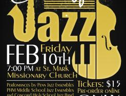 "A poster for the ""An Evening of Jazz"" event"