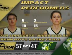Noah Applegate and Brian Doslak named impact performers vs. Northridge.