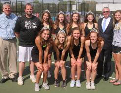 P-H-M Supt. Dr. Jerry Thacker, Penn High School Athletic Director Jeff Hart, and the Penn Girls Tennis Coaches and Seniors.