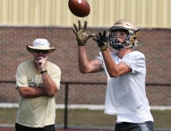 Penn Football practices for the 2019 season include passing drills.