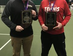 Penn Boys and Girls Tennis Coach Eric Bowers, left, pictured with Carmel Girls Tennis Coach Spencer Fields, was named the Indiana Boys Tennis Coach of the Year.