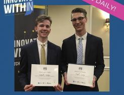 Marian's Jeff Murphy, left, and Penn's Nick Padrnos are vying for a $10,000 bonus in the Innovate WithIN competition.