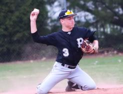 Penn second baseman Hayden Berg makes a throw from his knees for the out.