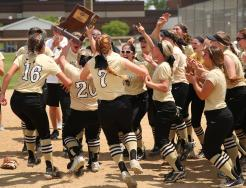 The Kingsmen celebrate the Sectional Championship in Softball.