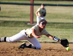 Brenna Brown dives for the stop.