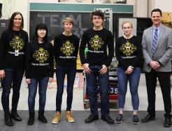 From left, Penn STEM instructor Tara Pieters, Michelle Kwok, Josefine Eskildsen, David Simonetti, McKenna Hillsdon-Smith, and Penn High School Principal Sean Galiher.
