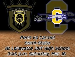 The Penn Boys Basketball Team vs. Carmel graphic design.