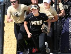 The Penn Kingsmen Softball Team sprints onto its new turf field.