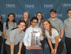 Penn's winning 9/10 TEAMS entry, front row from left, Rebecca Mattson, Hamid Awfadhl, Courtney Sharpe; back row, Komal Kumar, Karen Wang, Becky Tagliaferri (Coach),   Mia Schwartz, Keatch Smith, and John Donaruma.