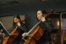Symphonic Cellists Hannah McGinnes and Julia Kwak played a 2 cellos style version of Michael Jackson's greatest hits.