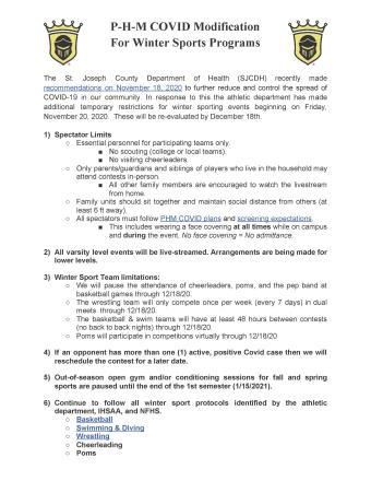PHM Athletics COVID Modifications for Winter Sports (11.20-12.18.20)