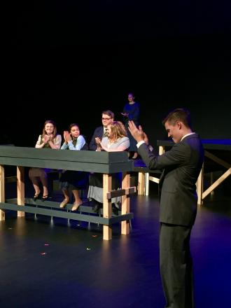 "Penn students during dress rehearsals for ""Radium Girls""."
