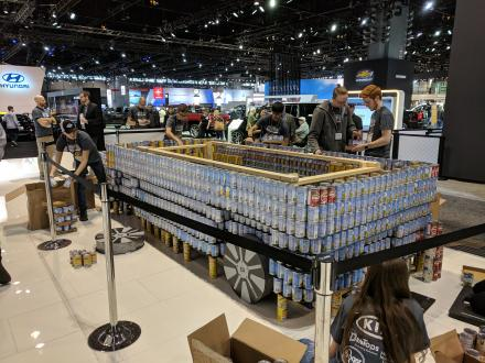 Penn STEM students built a Kia car out of cans for the Chicago Auto Show