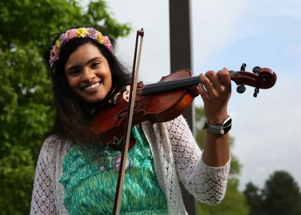 Rachel Santosh performs during Pennstock.