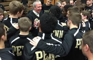 P-H-M Supt. Dr. Jerry Thacker talks to the Penn wrestling team.