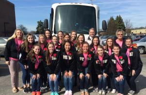 Penn High School competitive poms team before loading the bus for state.