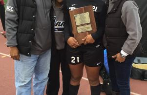 IHSAA girls soccer mental attitude award winner Kamra Solomon and family