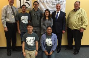 Penn's state champion spell bowl seniors with Coach Pete DeKever, P-H-M Supt. Dr. Jerry Thacker, and Penn High School principal Steve Hope.