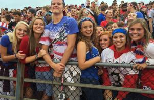 It's USA night for the Penn student section at a football game.