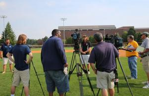 Media attention is on Skylar Szynski after he's picked in the MLB draft, June 10, 2016