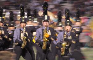 The saxophones strut their stuff when the Marching Kingsmen celebrate Senior Night (Oct 14, 2016)