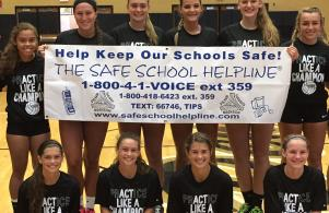 Volleyball team is helping spread the word about SafeSchool Helpline!