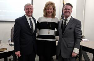 PHM Supt. Dr. Jerry Thacker with Penn's new Head Volleyball Coach Lisa Pawlik and Board Pres. Chris Riley (4/23/18)