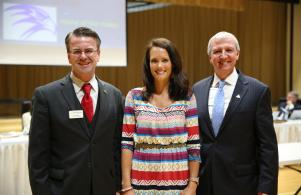 P-H-M Teacher of the Year Penn's Danielle Black with Board Pres. Chris Riley & Supt. Dr. Thacker
