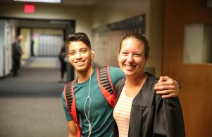 Early College Academy Teacher Annie Eutsey welcomes students back